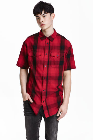Checked cotton shirt - Red/Checked - Men | H&M CN 1