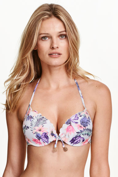 Push-up bikini top - White/Floral - Ladies | H&M IE