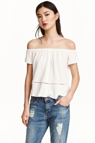 Off-the-shoulder top - White - Ladies | H&M CN