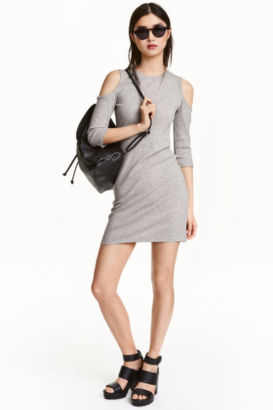 Cold shoulder dress - Grey marl - Ladies | H&M CN 1