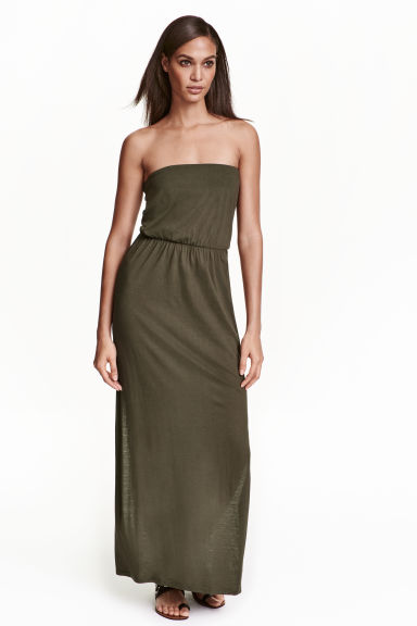 Maxi dress - Dark khaki green - Ladies | H&M CN 1
