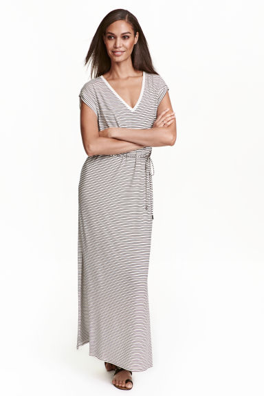 Jersey maxi dress - White/Striped - Ladies | H&M CN
