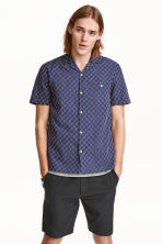 Short-sleeved shirt - Dark blue/Patterned - Men | H&M CN 1