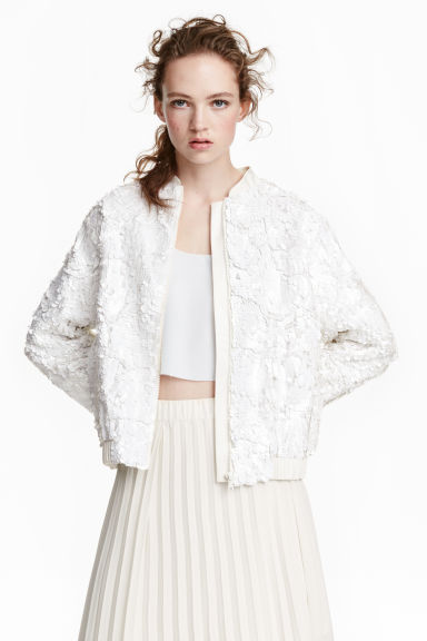 Sequined bomber jacket - White - Ladies | H&M GB 1