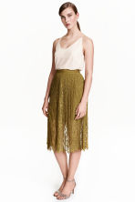 Pleated lace skirt - Olive green - Ladies | H&M GB 1