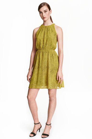 Chiffon dress - Olive green/Patterned - Ladies | H&M CN 1