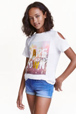 Cold shoulder top - White/Palms - Kids | H&M CN 1