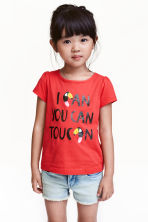Jersey top with puff sleeves - Red - Kids | H&M CN 1