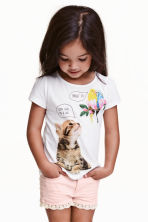 Jersey top with puff sleeves - White/Animal - Kids | H&M CN 1