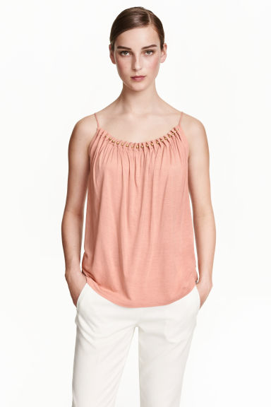 Jersey strappy top with beads - Powder pink - Ladies | H&M CN