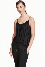 Jersey strappy top with beads - Black - Ladies | H&M CN 1