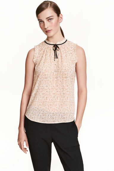 Sleeveless chiffon blouse - Powder beige/Patterned - Ladies | H&M CN