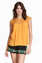 Blouse with a lace yoke - Mustard yellow -  | H&M CN 1