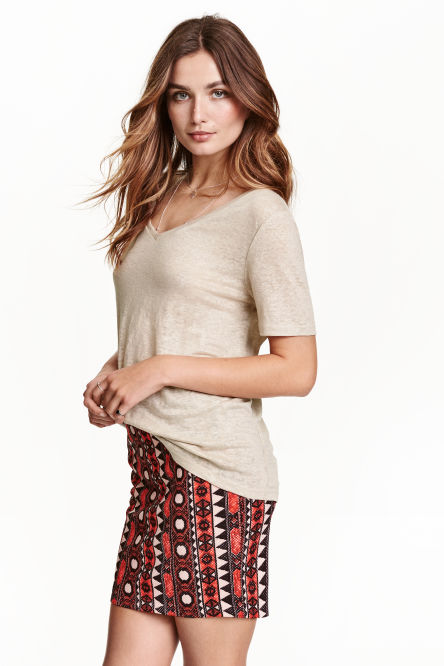 Patterned jersey skirt