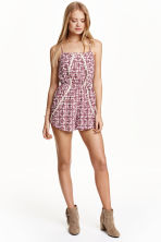 Playsuit with lace - Burgundy/Natural white - Ladies | H&M CN 1