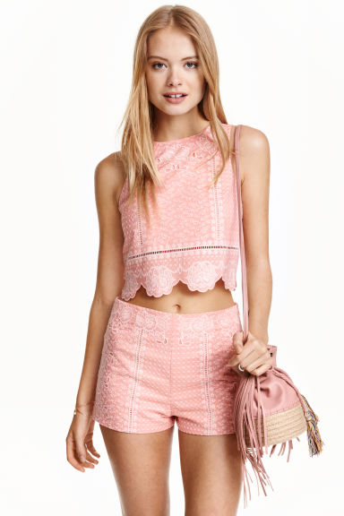 Embroidered top - Pink - Ladies | H&M CN 1