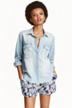Short shorts - Dark blue/White patterned - Ladies | H&M CN 1