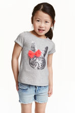 Top with a sequined appliqué - Grey/Rabbit - Kids | H&M CN 1