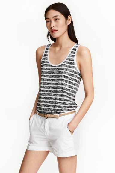 Jersey vest top - Black/Striped - Ladies | H&M CN