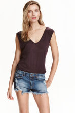 Linen jersey top - Plum - Ladies | H&M CN 1