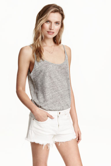 Linen jersey strappy top - Grey marl - Ladies | H&M CN 1