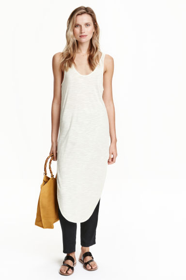 Long top with side slits - White - Ladies | H&M CN