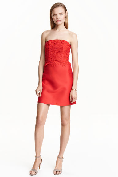 Dress with lace bodice - Coral red - Ladies | H&M CN 1