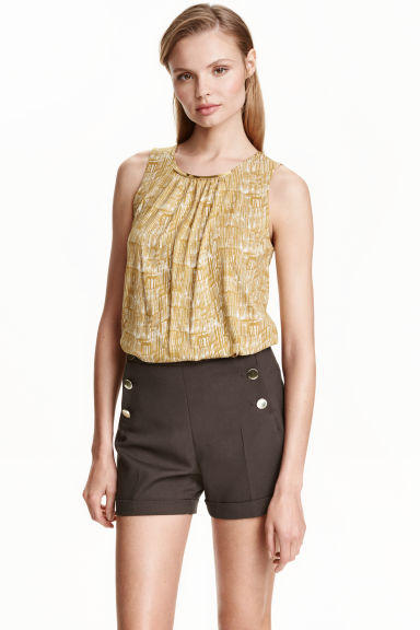 Top with neck decoration - Olive green/Patterned - Ladies | H&M CN 1