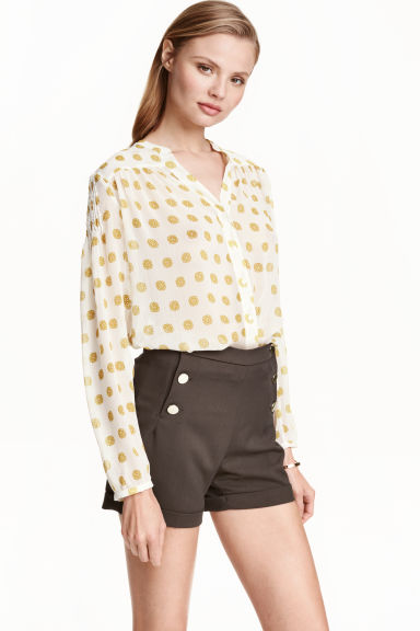 Chiffon blouse - White/Patterned - Ladies | H&M CN 1