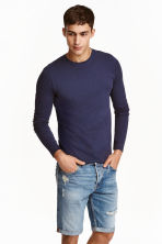 Long-sleeved T-shirt Slim fit - Dark blue - Men | H&M CN 1