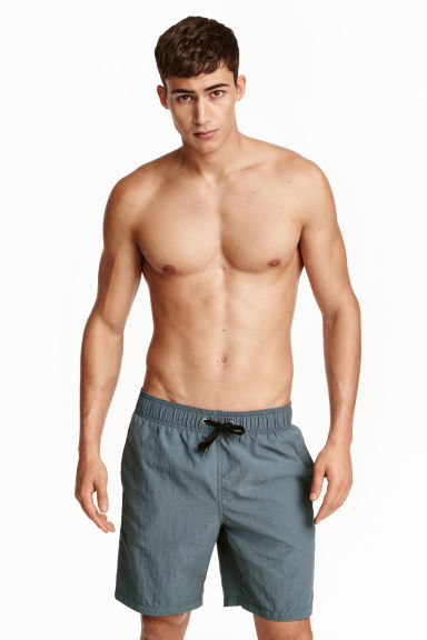 Knee-length swim shorts - Blue-grey - Men | H&M CN 1
