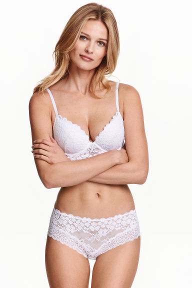 Lace hipster briefs - White - Ladies | H&M GB 1