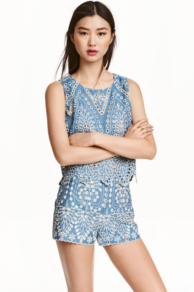 Embroidered cotton shorts - Blue/Chambray - Ladies | H&M ...