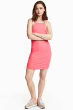 Ribbed jersey dress - Pink - Ladies | H&M CN 1