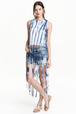 Fringed jersey top - Dark blue/Batik - Ladies | H&M CN 1