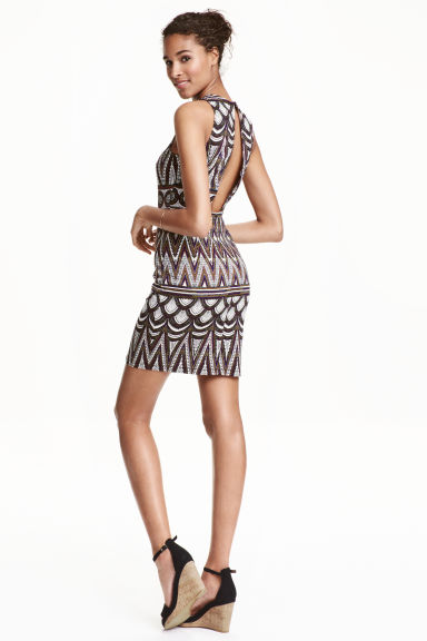 Sleeveless dress - White/Patterned - Ladies | H&M CN 1