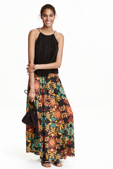 Patterned maxi skirt - Black - Ladies | H&M CN