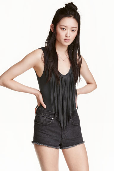 Fringed body - Dark grey - Ladies | H&M CN 1