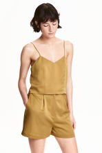 Silk crop top - Olive green - Ladies | H&M CN 1