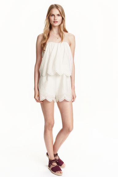 Embroidered playsuit - White - Ladies | H&M CN 1