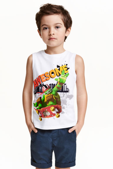 Printed vest top - White/Turtles -  | H&M CN 1