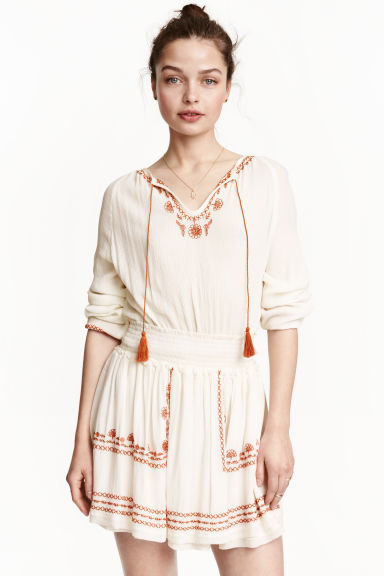 Embroidered skirt - Natural white - Ladies | H&M CN 1