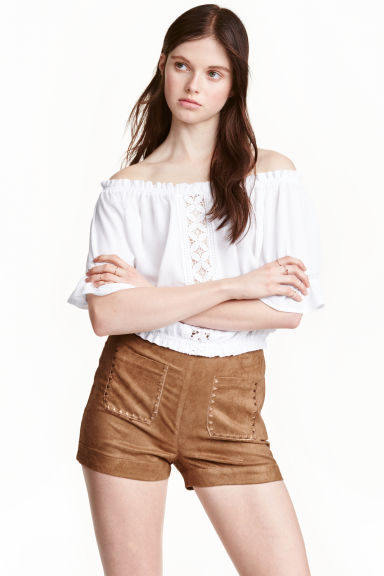 Shorts in finto camoscio - Beige scuro -  | H&M IT