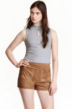 Jersey turtleneck top - Grey marl - Ladies | H&M CN 1