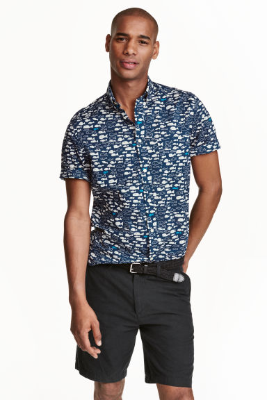 Short-sleeved cotton shirt - Dark blue/Fish - Men | H&M CN 1