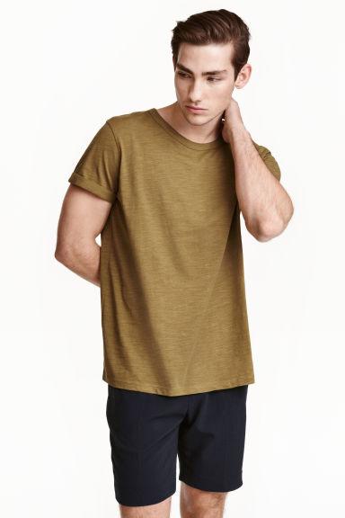 Slub jersey T-shirt - Olive green - Men   H&M GB