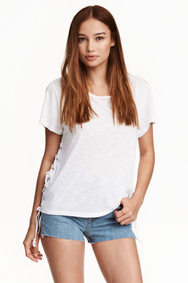 Jersey top with lacing - White - Ladies | H&M CN 1
