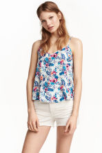 V-neck strappy top - Natural white/Floral - Ladies | H&M CN 1