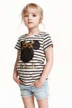 Top with sequined embroidery - Light beige/Minnie Mouse - Kids | H&M CN 1
