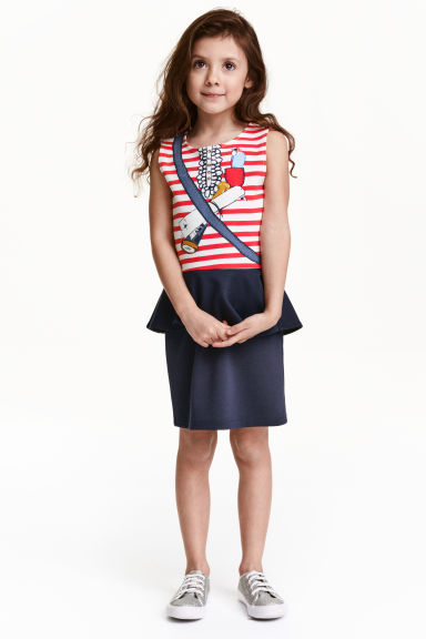 Dress with a flounce - Dark blue/Pirate - Kids | H&M GB 1